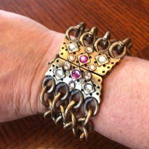 Jewelmint statement gold brass bracelet crystals